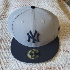 NEW YORK YANKEES Gray Blue Cap Hat Size 7 7/8 NEW